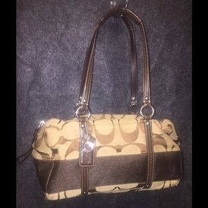 Coach Jacquard Brown Stripe Shoulder Bag